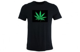 Tee-shirt LED CANNABIS